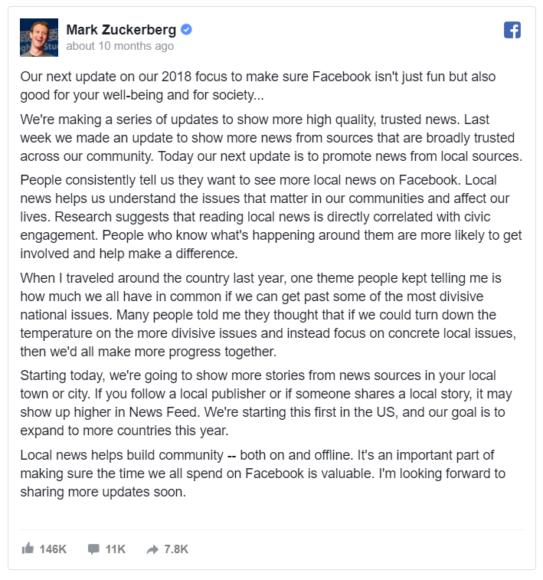 Facebook January 2018 Update